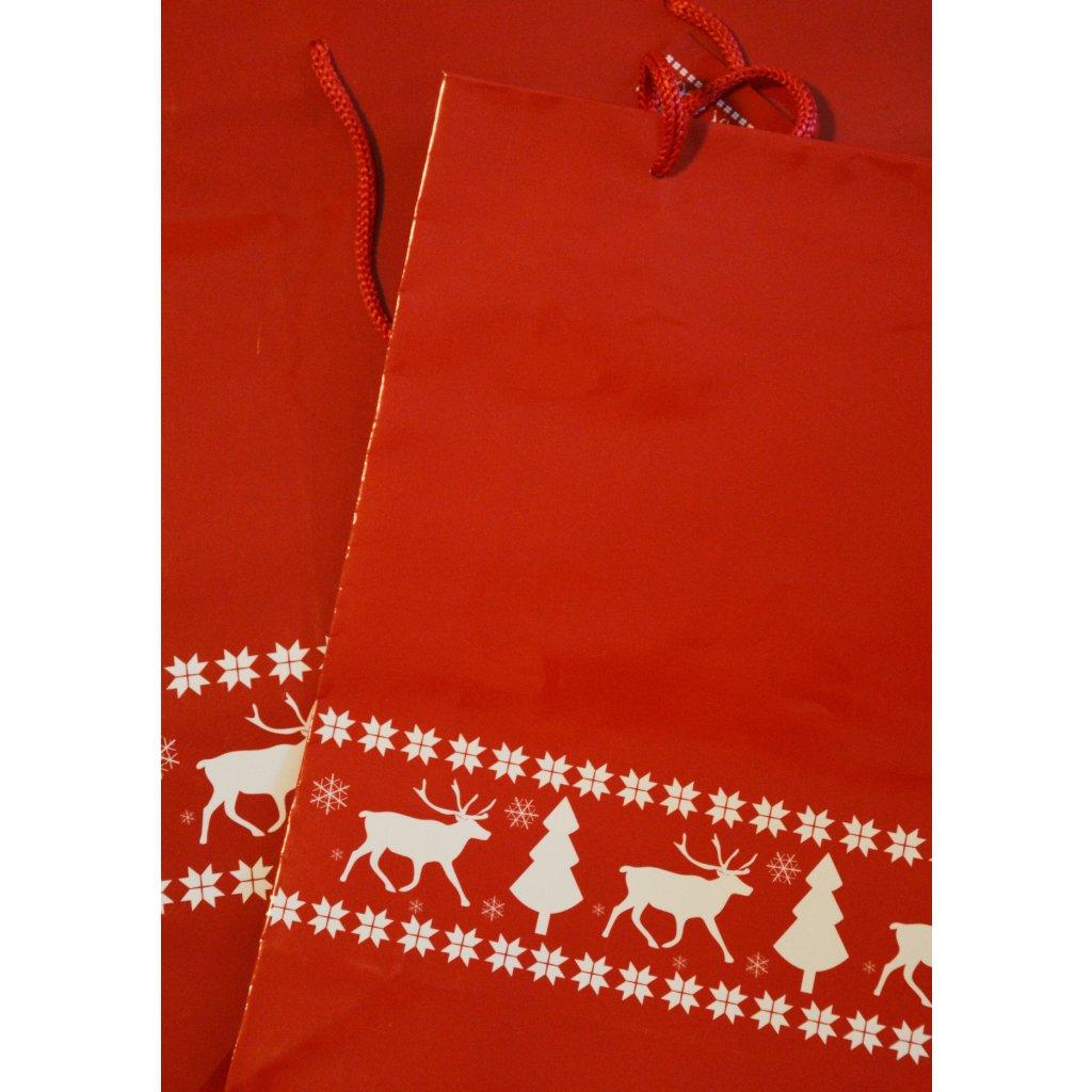 Dárková taška velká Červená se sobem