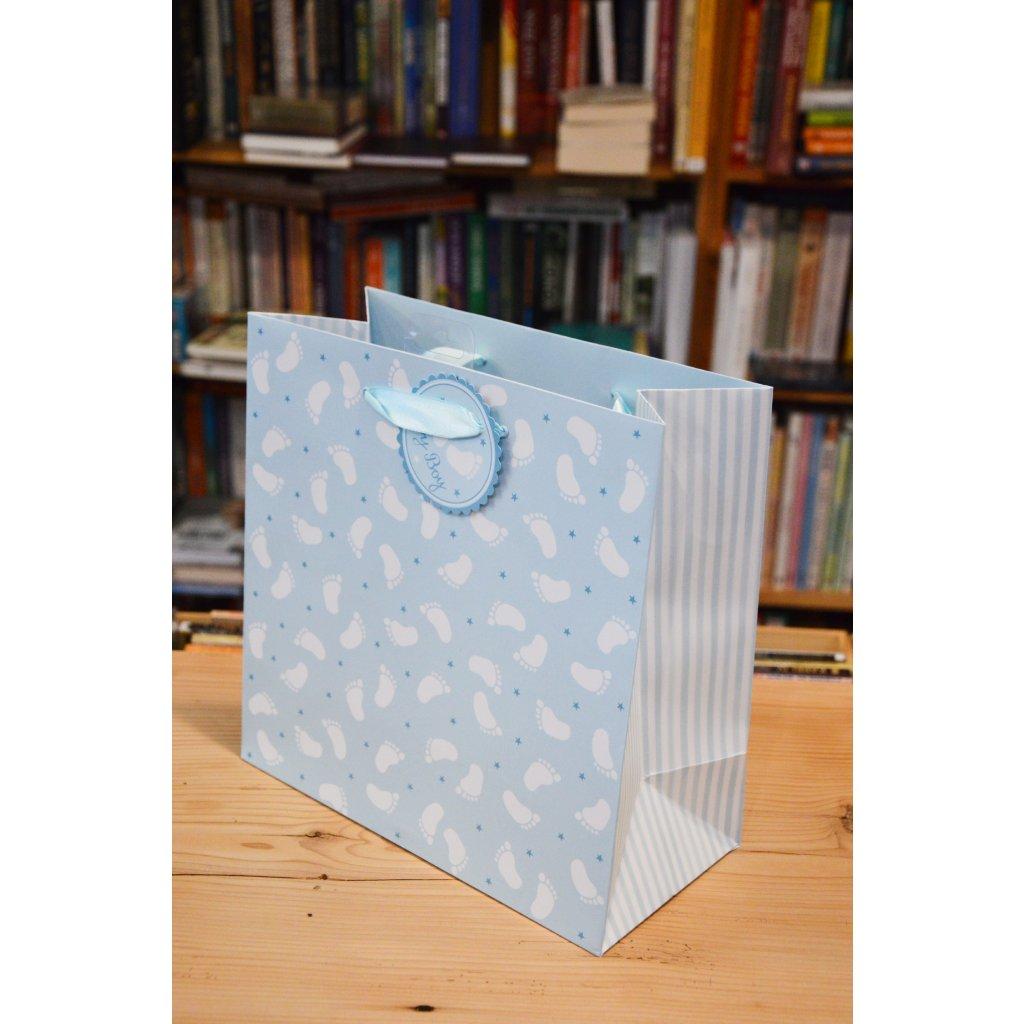 Dárková taška velká Modrá s chodidly