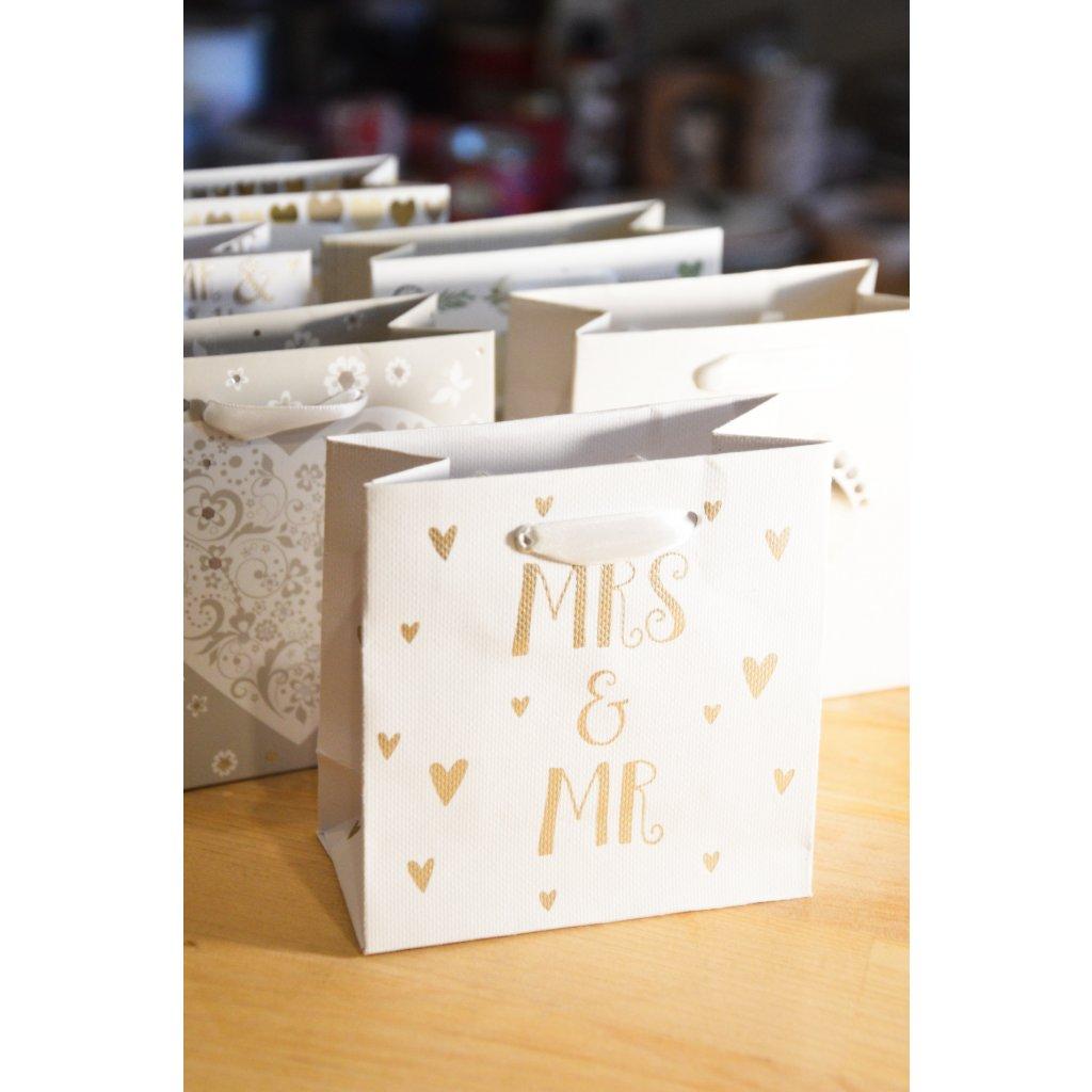 Dárková taška na malý dárek Mr. a Mrs.
