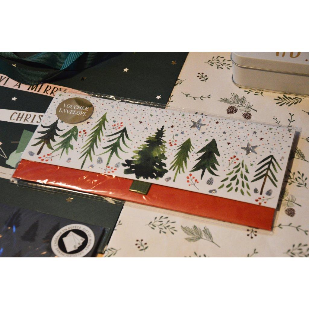 Dárková obálka na peníze či poukaz Stromy vánoční