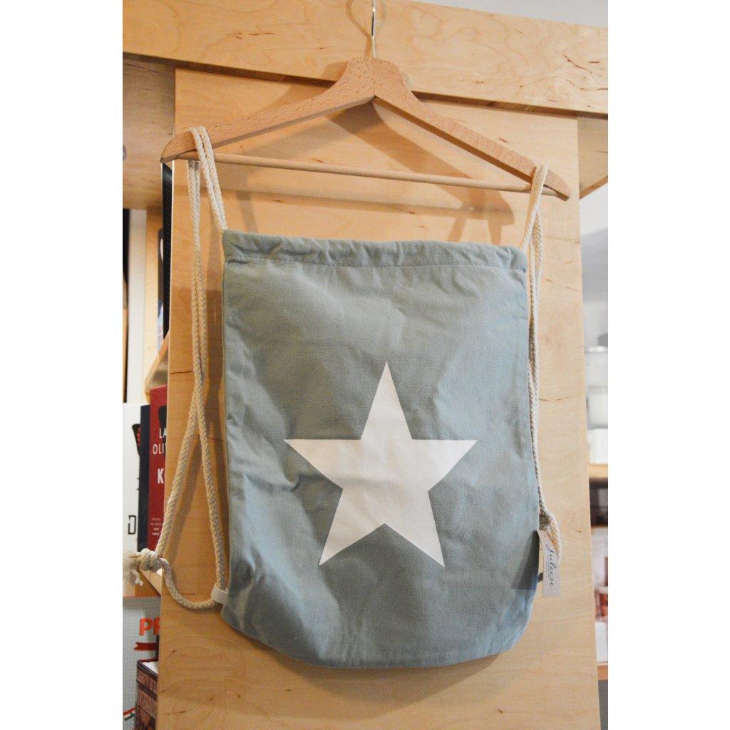 Látková taška na záda Modrá s hvězdou