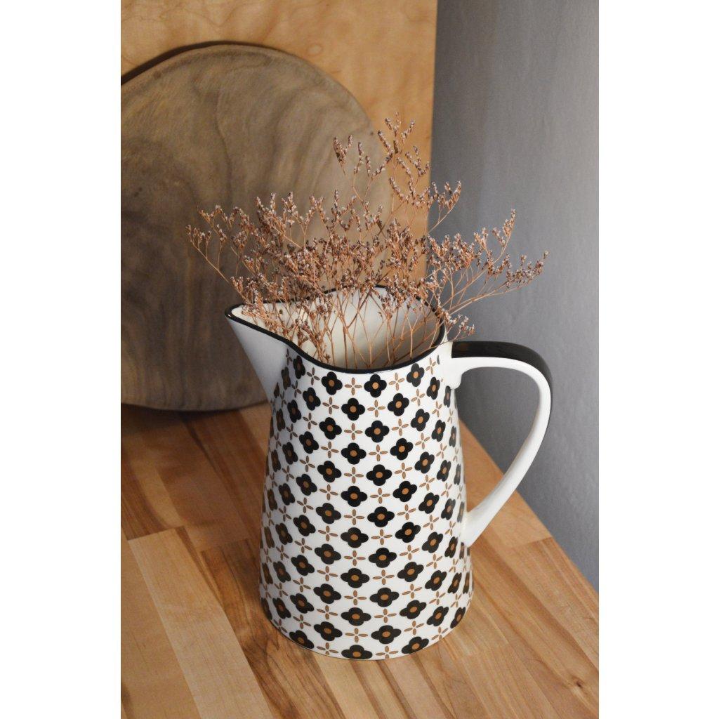 Džbán keramický S černozlatým vzorem
