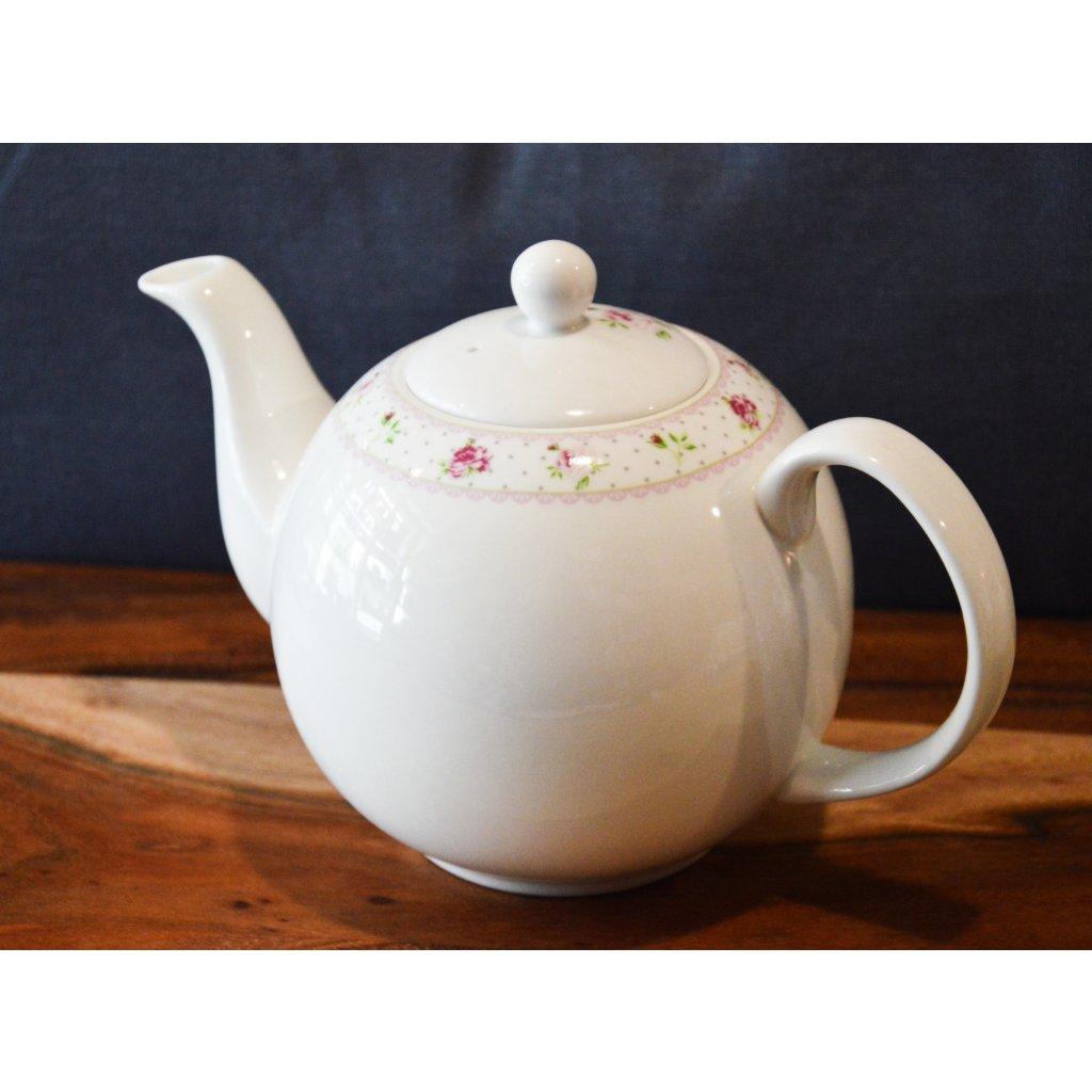 Konvice porcelánová na čaj velká bílorůžová