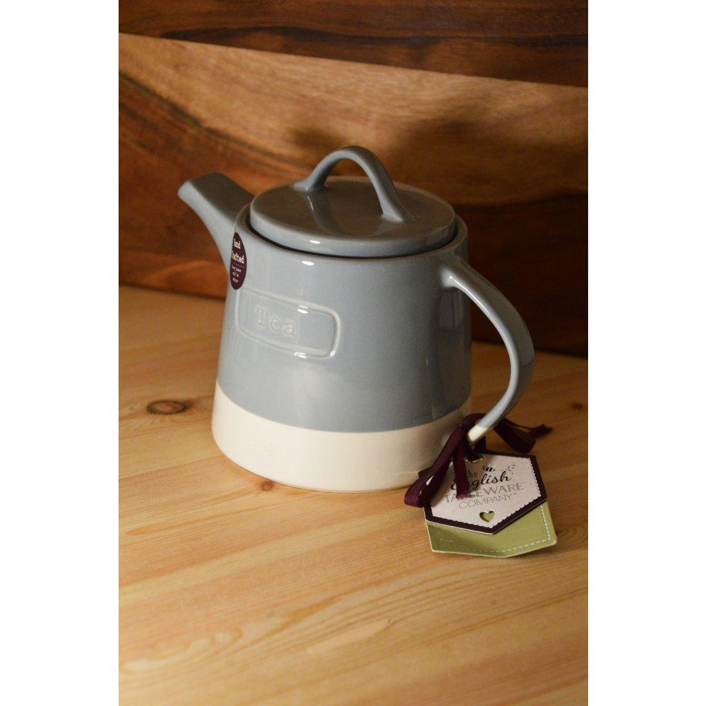Konvice keramická na čaj šedobílá