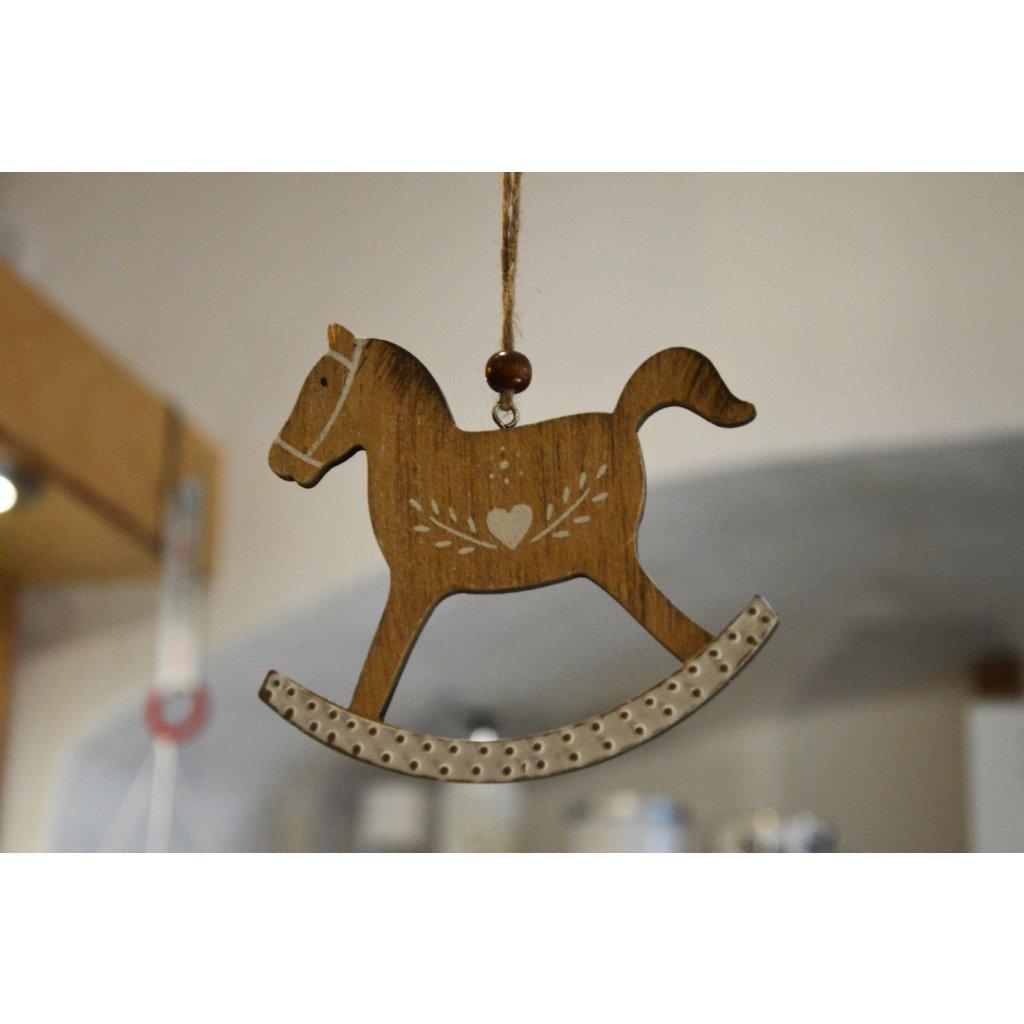 Závěsná dřevěná ozdoba Houpací kůň