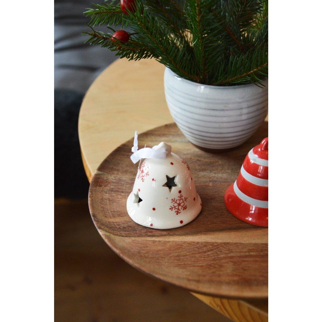 Keramický zvoneček červený malý