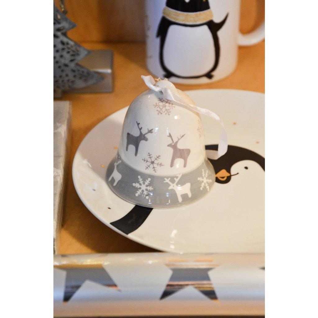 Keramický zvoneček bílošedý