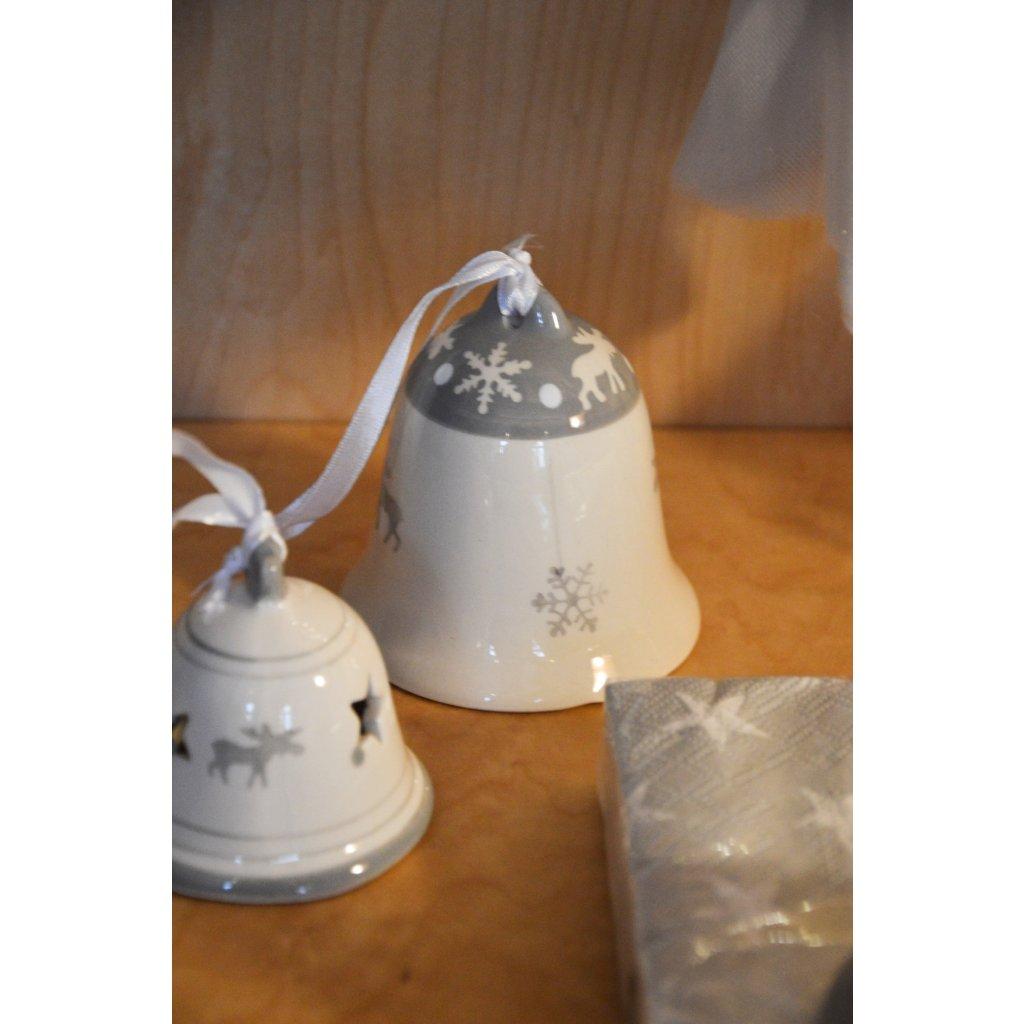 Keramický zvoneček šedobílý