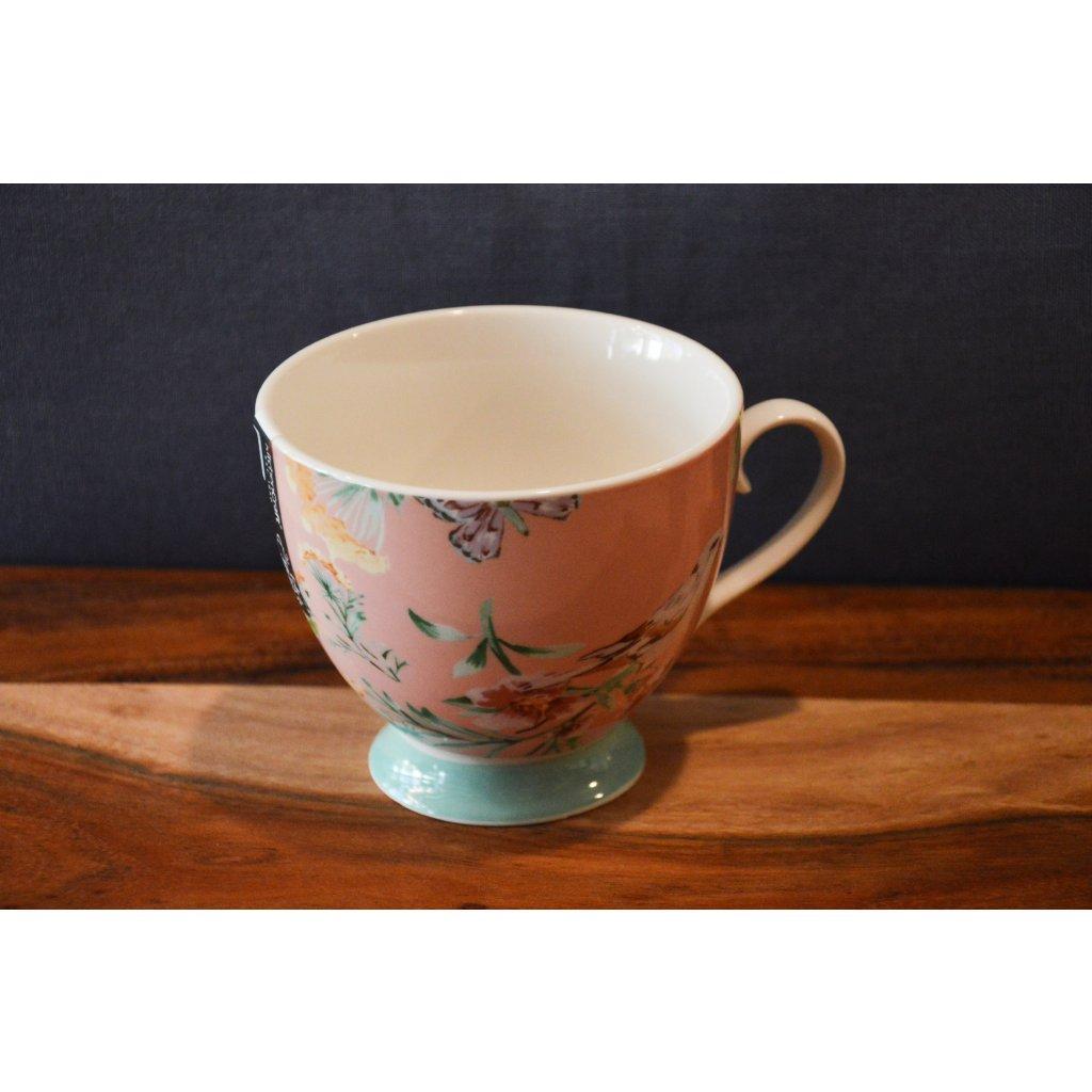 Porcelánový hrnek růžový s květinami a mentolovým pruhem