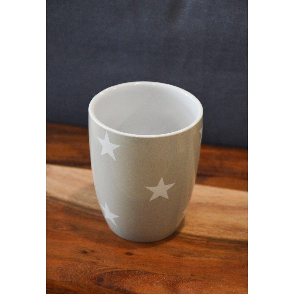 Keramický hrnek šedý s hvězdami