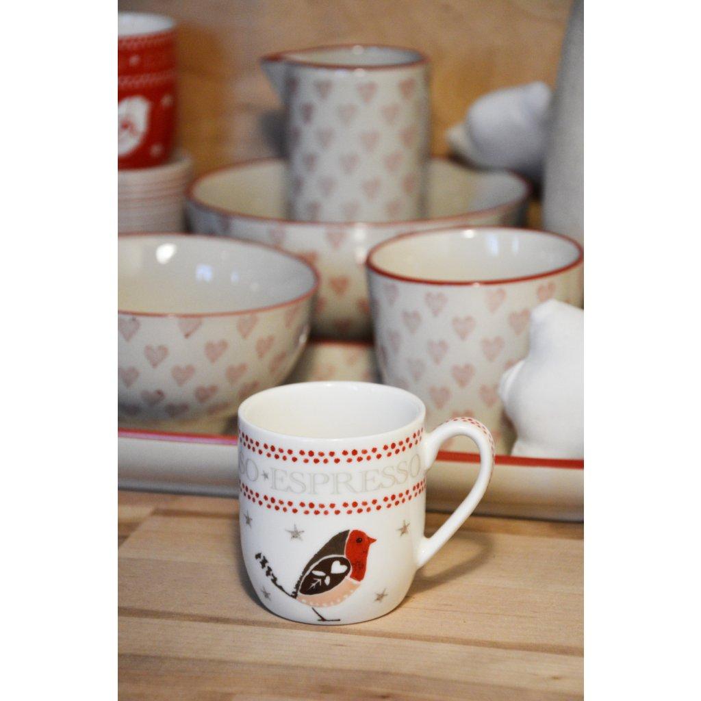 Keramický hrnek bílý Espresso s ptáčkem
