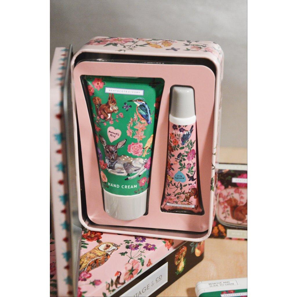 Kosmetická sada v plechové krabičce - Laňka mezi květinami