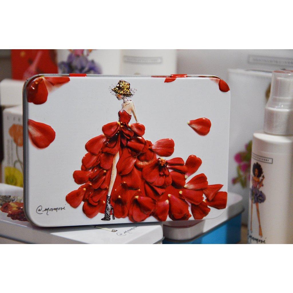 Kosmetická sada v plechové krabičce - Modelka s červenými šaty