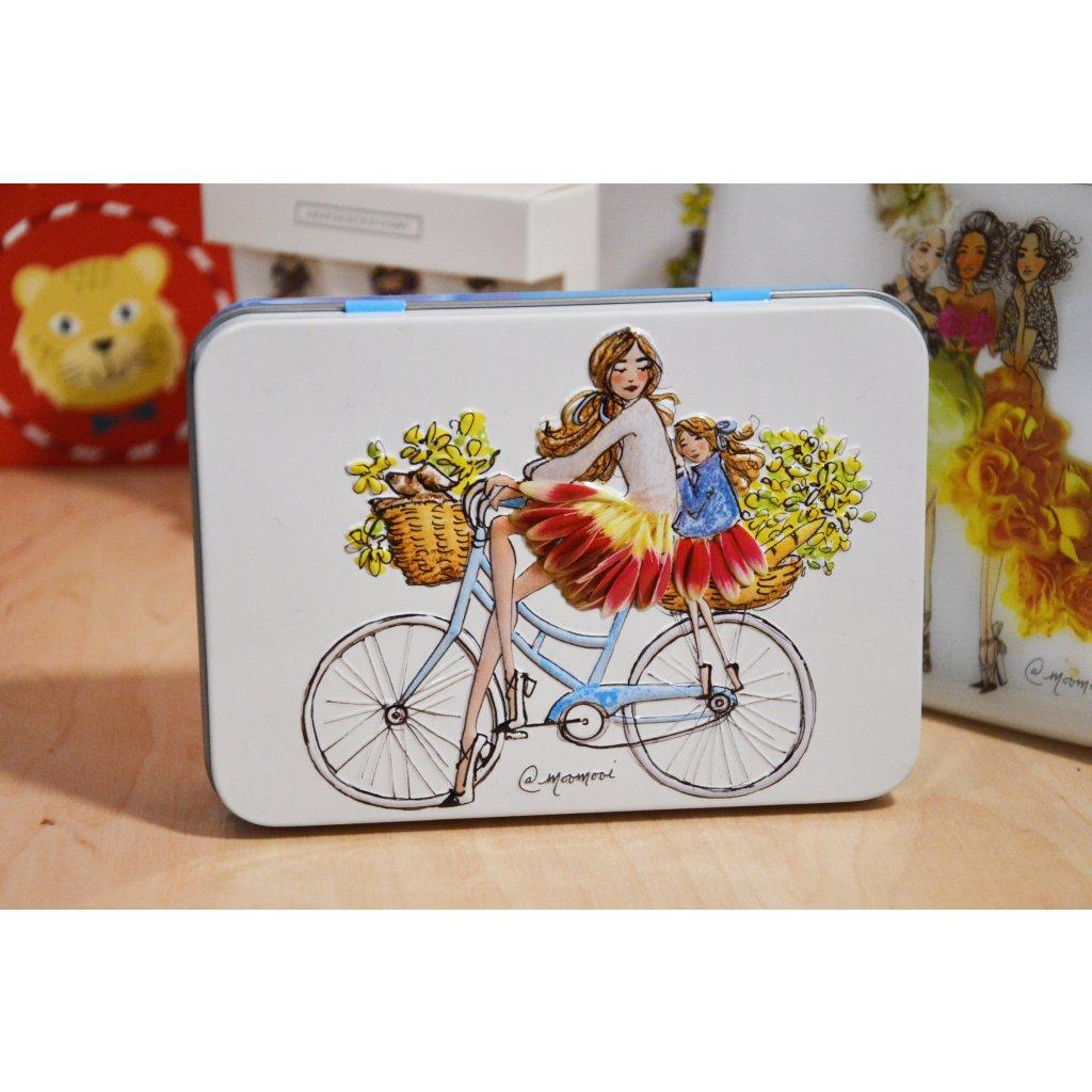Kosmetická sada v plechové krabičce - Dívka na kole