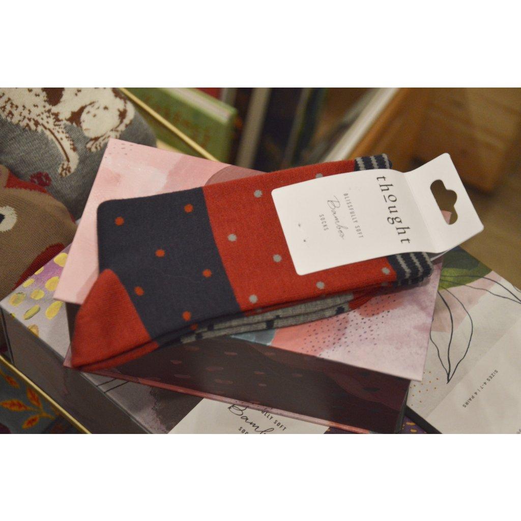 Ponožky s Puntíky korálově červená
