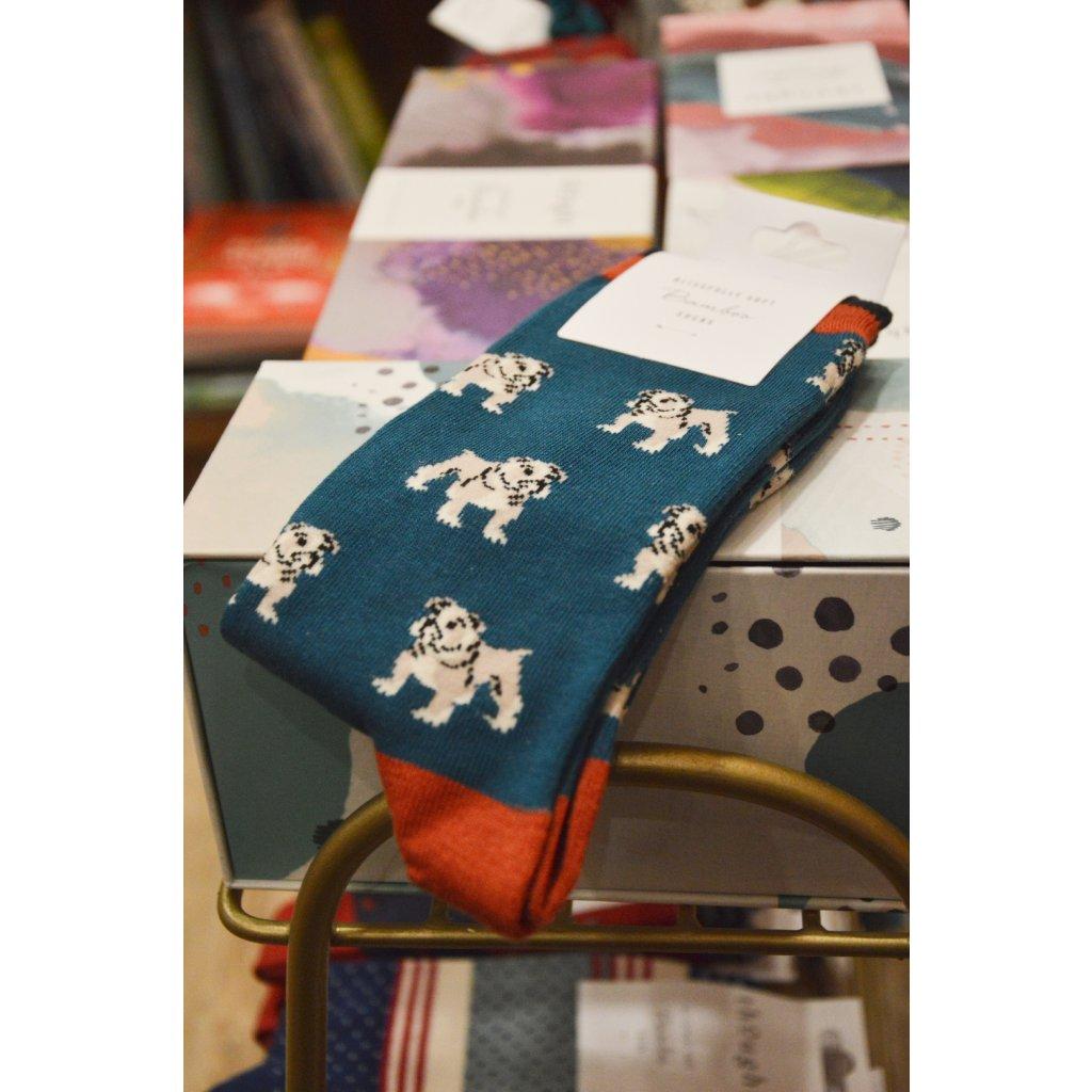 Ponožky s Buldokem inkoustová modř