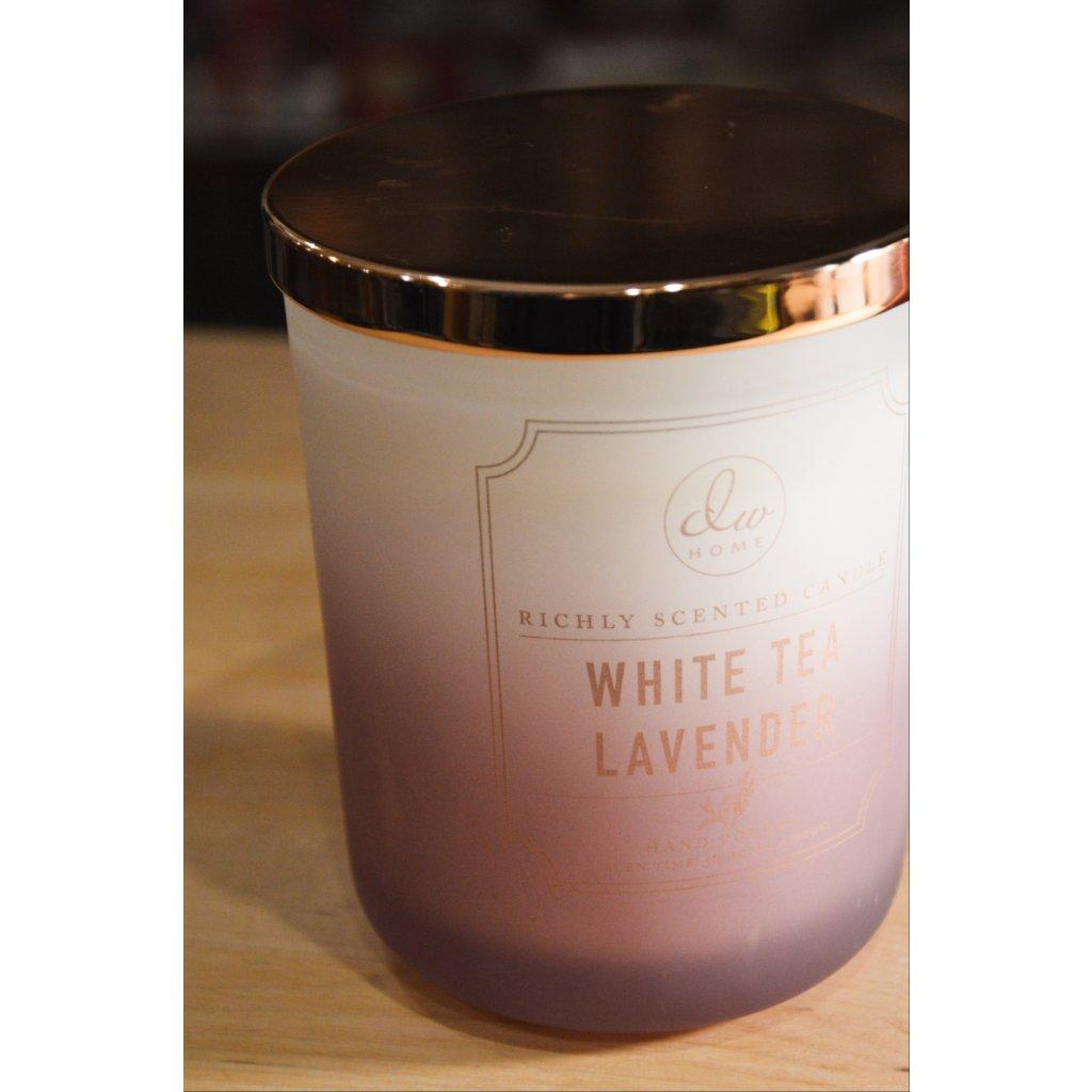 Svíčka ve skle White Tea Lavender - Bílý čaj a levandule