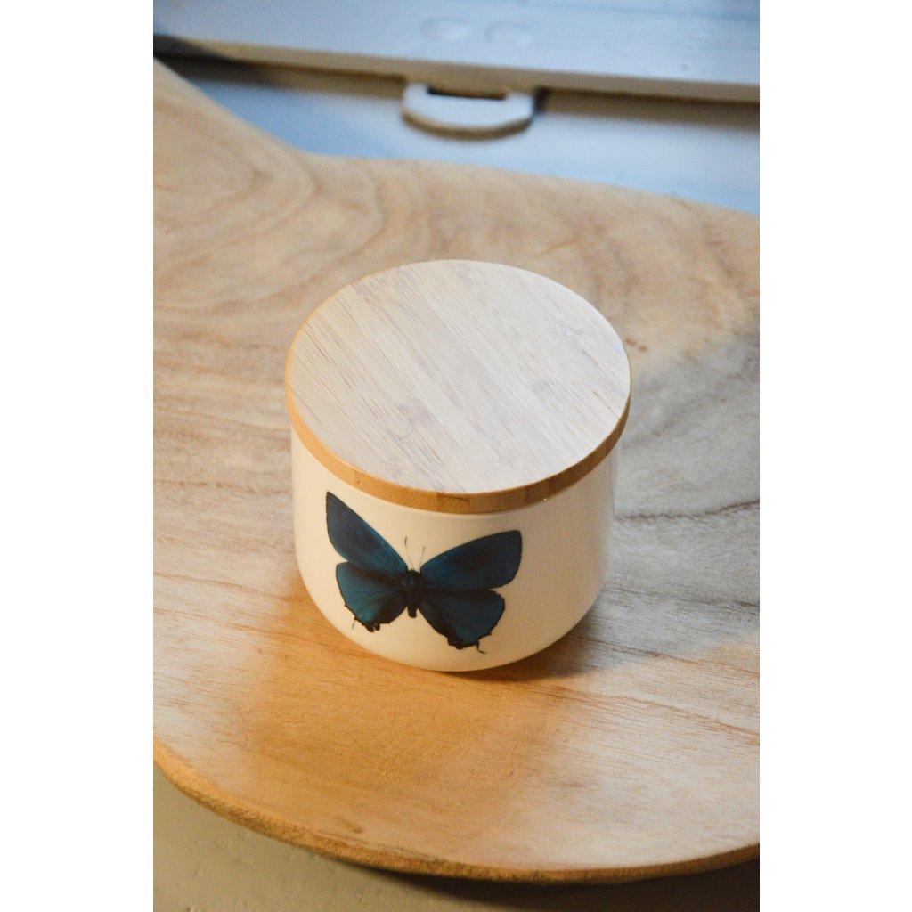 Dóza keramická s motýlem s dřevěným víčkem
