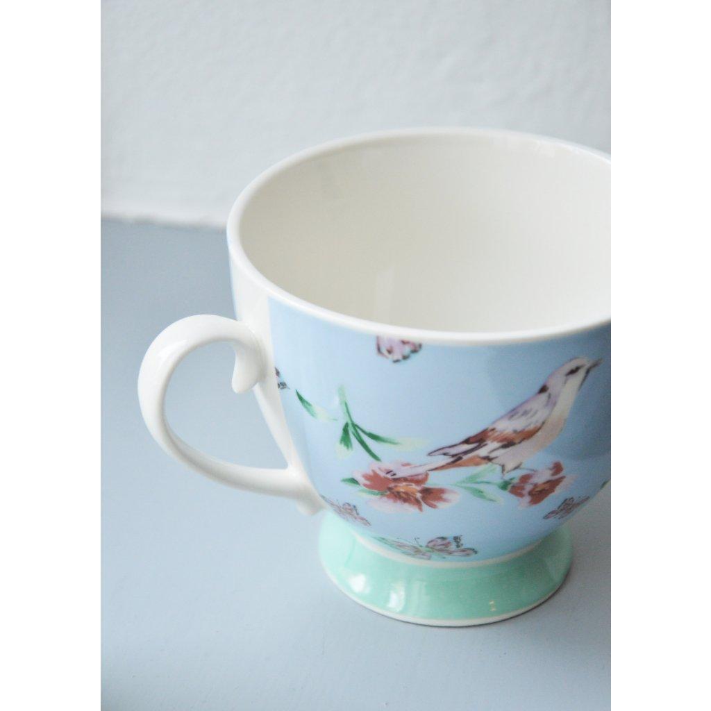 Porcelánový hrnek s Ptáčkem a květy