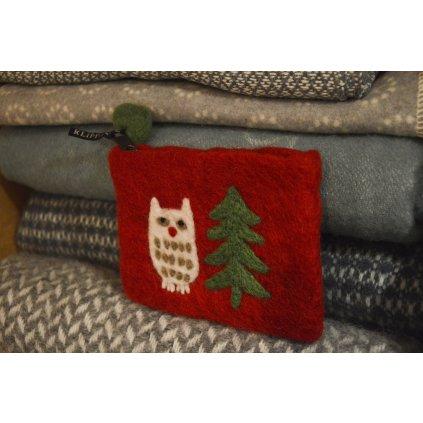 Peněženka červená se sovičkou a stromečkem