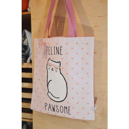 Plátěná taška přes rameno Růžová s kočkou