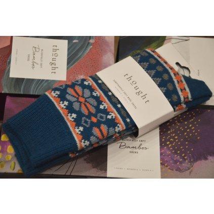 Ponožky vlněné šedo modré