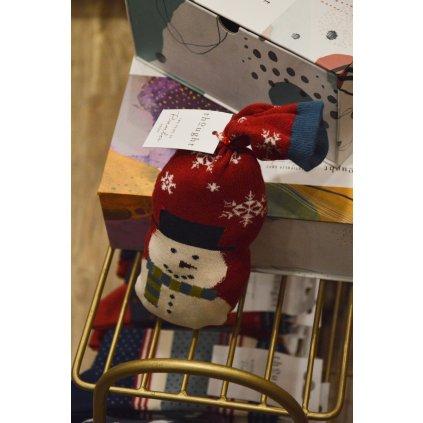 Ponožky se Sněhulákem červené/ s proužkem 2 páry v pytlíku