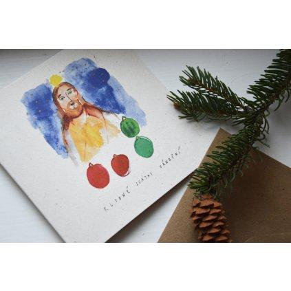 Ručně malované Vanoční přání s obálkou