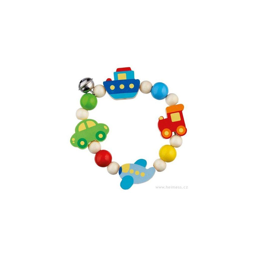 Dopravní prostředky - elastická motorická hračka pro miminka, dřevěná