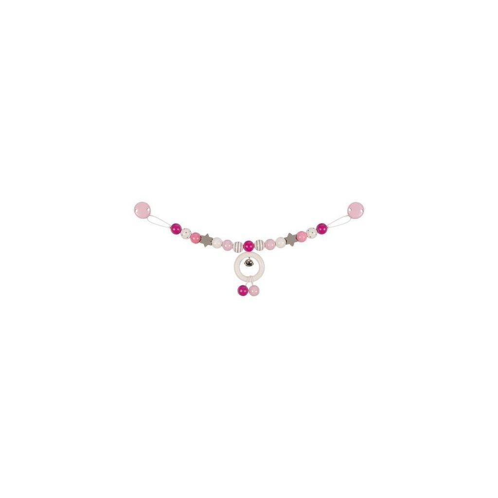 Růžová a šedá - řetěz do kočárku