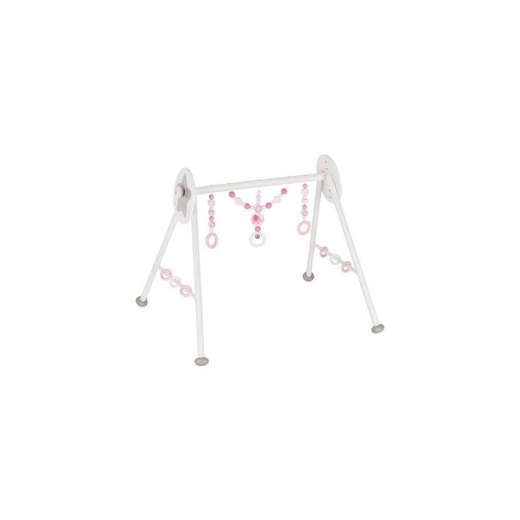 Růžový slon - dřevěná hrazdička pro miminka, 6 výškových poloh