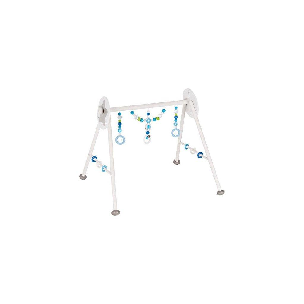 Modrý slon - dřevěná hrazdička pro miminka, 6 výškových poloh