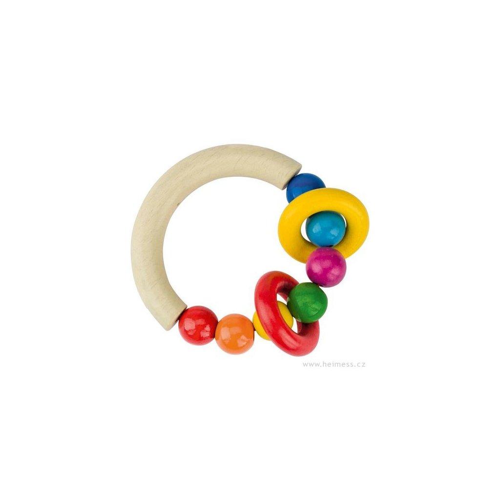 Půlkruh s dřevěnými perličkami a 2 kroužky