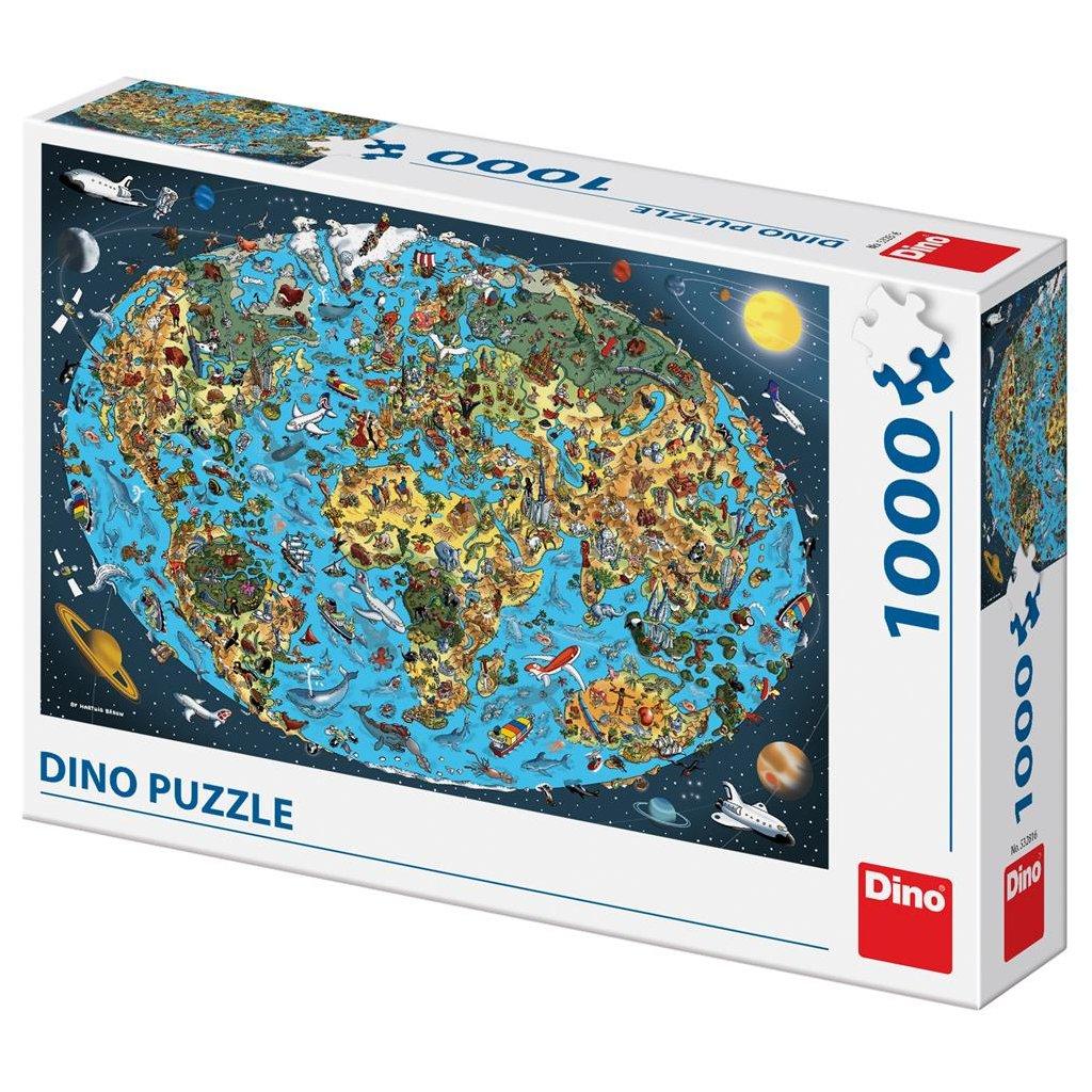 Puzzle KRESLENÁ MAPA SVĚTA 1000