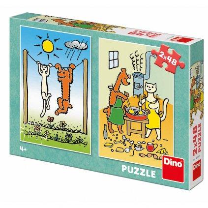 Puzzle PEJSEK A KOČIČKA 2x48