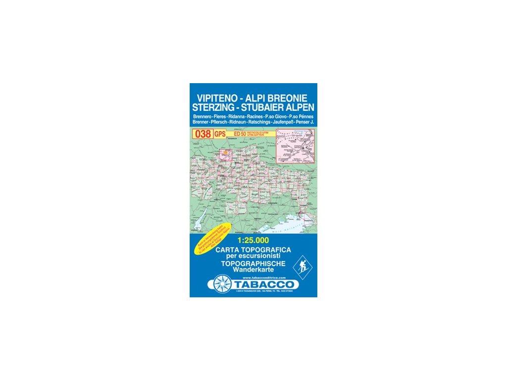 Vipiteno/Sterzing, Alpi Breonie, Stubaier Alpen (Tabacco - 038)