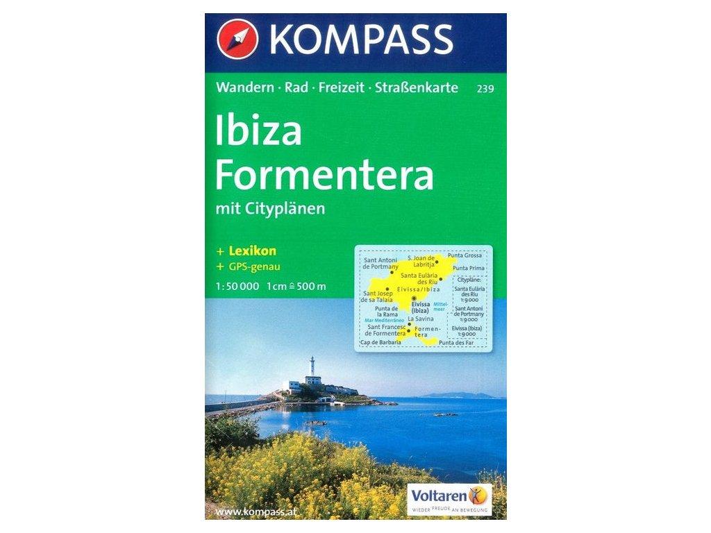 Ibiza, Formentera- turistická mapa (Kompass - 239)