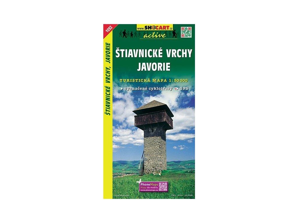 Štiavnickévrchy,Javorie - turistická mapa (shocart č.1092)