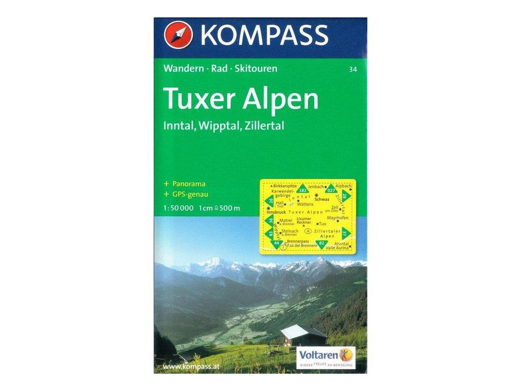 Tuxer Alpen - turistická mapa (Kompass-34)