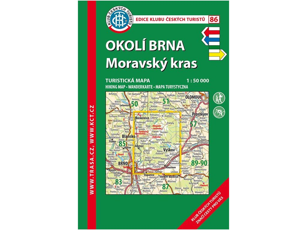 Okolí Brna -  Moravský kras -  mapa KČT č.86