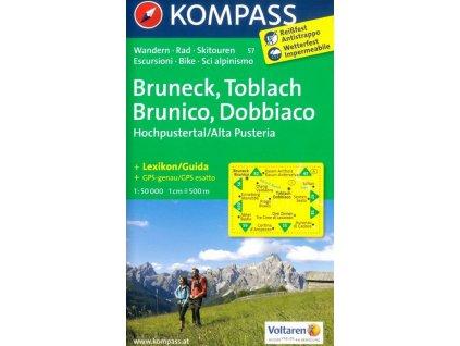 Bruneck , Toblach , Hochpustertal, Brunico , Dobbiaco , Alta Pusteria (Kompass - 57)