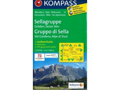 Sellagruppe, Gruppo di Sella, Gröden, Val Gardena, Seiser Alm, Alpe di Siusi (Kompass - 59)