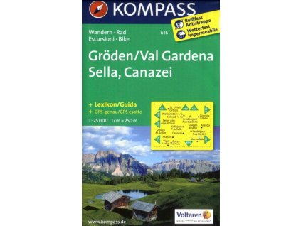 Gröden, Val Gardena, Sella, Canazei (Kompass - 616)