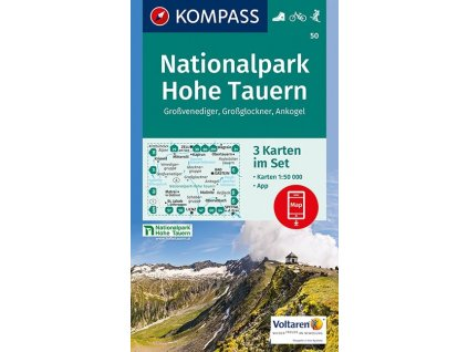 Nationalpark Hohe Tauern, Grossglockner, Ankogel, Grossvenediger (set 3 map, Kompass - 50)