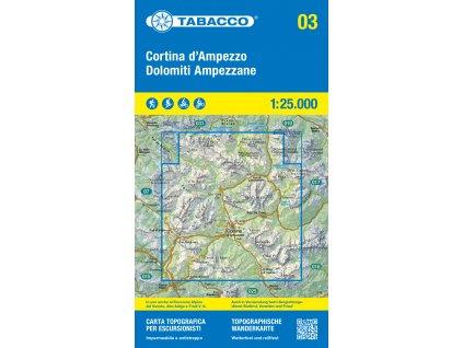 Cortina d´Ampezzo a Ampezánské Dolomity (Tabacco - 03)