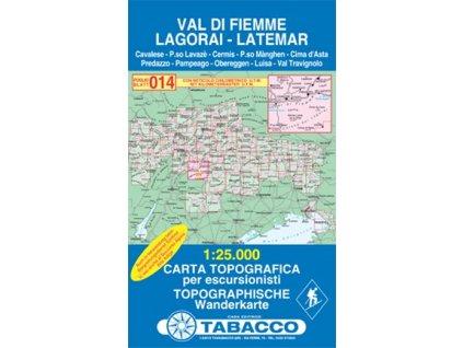 Val di Fiemme, Lagorai, Latemar (Tabacco - 014)