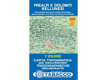 Předalpy a oblast Dolomiti Bellunesi (Tabacco - 024)