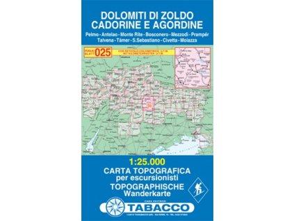 Dolomity oblasti Zoldo, Cadorine a Agordine (Tabacco - 025)