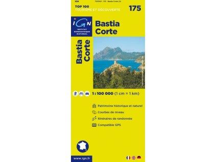 Bastia, Corte (IGN 175) - turistická mapa Korsiky
