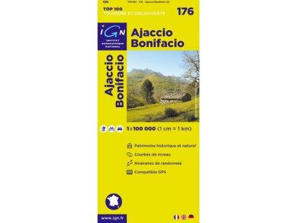 Ajaccio, Bonifacio (IGN 176) - turistická mapa Korsiky